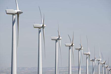 windmills for  electric power production, Pozuelo de Aragon, Zaragoza, Aragon, Spain photo