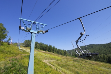 chairlift at a ski resort on Lake Baikal, Russia. photo