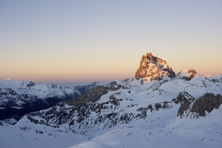sunset on the South slope of the peak Midi dOssau, 2884 meters, Ossau Valley, Pyrenees, France photo