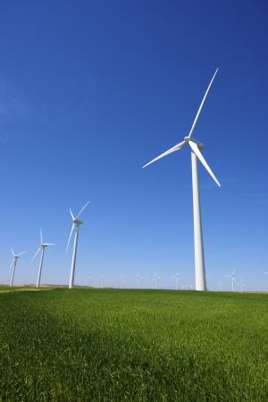 windmills for  electric power production, Pozuelo de Aragon, Zaragoza, Aragon, Spain Stock Photo - 19868896