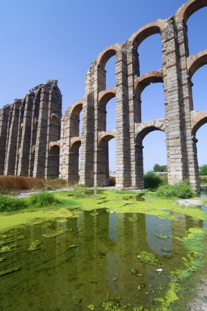 buttresses: Miracles aqueduct in Merida, Extremadura, Spain