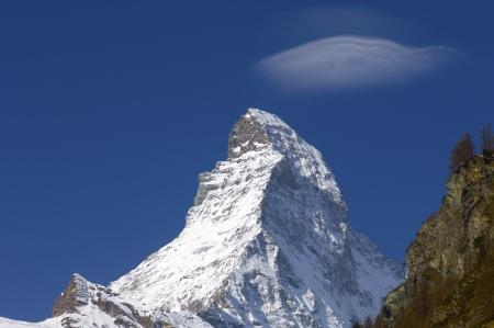 helvetia: winter view of the Matterhorn in the alpine village of Zermatt, Switzerland