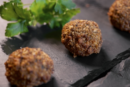 forefront: forefront of a group of crispy meatballs