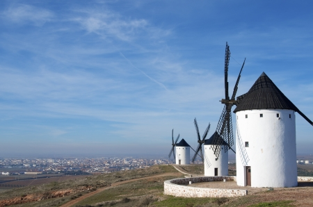castilla la mancha: group of traditional windmills in Alcazar de San Juan, Ciudad Real, Castilla La Mancha, Spain