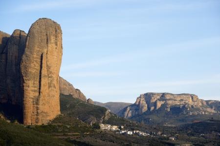 Rock spires known as Mallos de Riglos, Huesca, Aragon, Spain photo