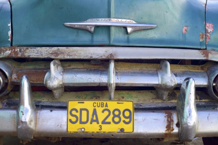 Trinidad, Cuba - february 2, 2007: closeup of a rickety  old car, with decades old, these vehicles are still used.