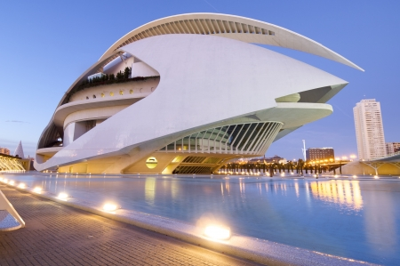 Valencia, Spain - December 6, 2009: arts palace queen sofia in the city of arts and sciences, designed  by Valencian architect Santiago Calatrava, offers a wide range of music.