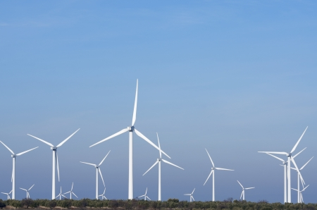 wind mill: windmills for  electric power production Stock Photo