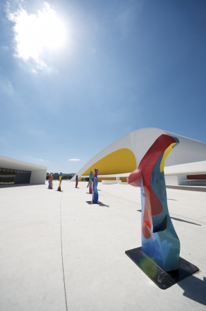 multidisciplinary: Aviles, Spain - August 10, 2011: sculptures in Niemeyer Center. Designed by Oscar Niemeyer, this Center offers a  multidisciplinary program dedicated to the most diverse art and cultural events. Editorial