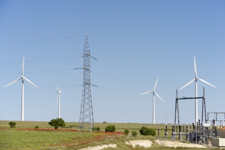 windturbines: windmills for removable energy production and electrical substation
