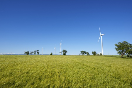 windmills for  electric power production, Gurrea de Gallego, Huesca, Aragon, Spain Stock Photo - 20771134