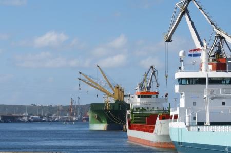aviles: cargo  ships in the port of Aviles, Asturias, Spain