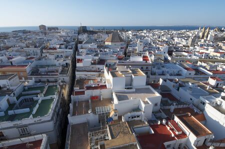 aerial view of the old town of Cadiz, Andalucia, Spain