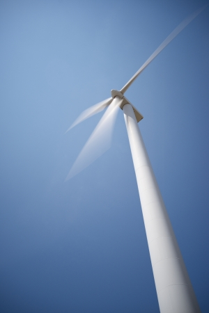 closeup of a windmill for renewable electric energy production photo