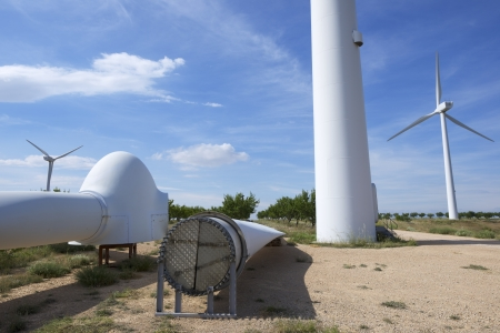 wind mill: repair work on the propeller of a windmill