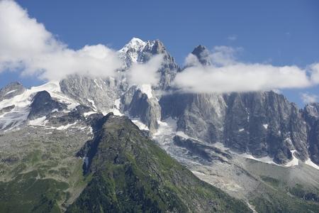 massif: Aiguille Verte and Dru Peak, Aiguilles du Chamonix, Mont Blanc Massif, Alps, France Stock Photo