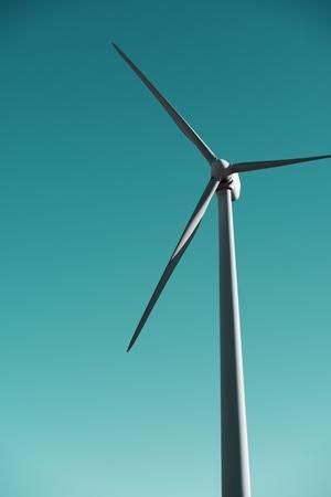 windturbine: closeup of a windmill for renewable electric energy production, Pozuelo de Aragon, Zaragoza, Aragon, Spain. Stock Photo