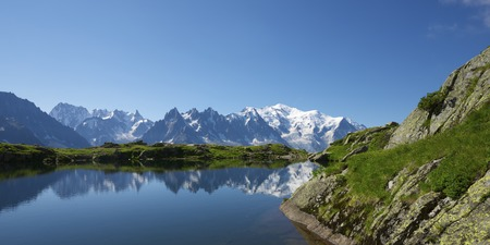 Mont Blanc reflected in Cheserys Lake, Mont Blanc Massif, Alps, France