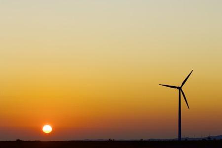 actual: Windmill for renewable electric energy production, La Muela, Zaragoza, Aragon, Spain