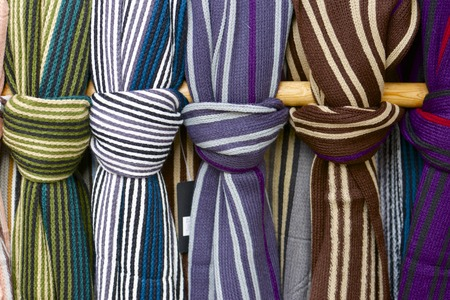 Closeup of a group of wool scarves photo