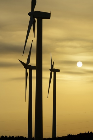 actual: silhouette of windmills for renewable electric energy production