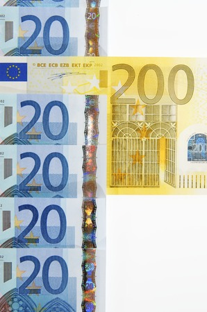view of a group of twenty and two hundred euro banknotes photo