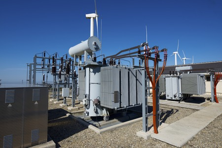 windmills for removable energy production and electrical substation, El Buste, Zaragoza, Aragon, Spain