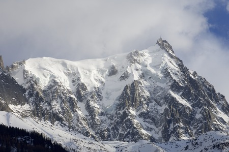 aiguille: view of the northern slopes of the Aiguille du Midi, Chamonix, Alps, France