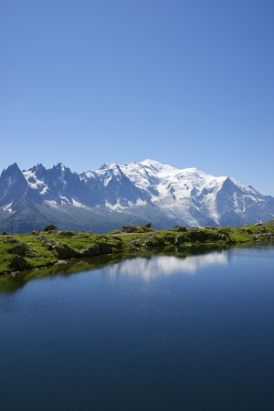 massif: Mont Blanc reflected in Cheserys Lake, Mont Blanc Massif, Alps, France