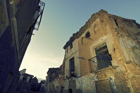bombing: Belchite village destroyed in a bombing during the Spanish Civil War, Saragossa, Aragon, Spain Stock Photo