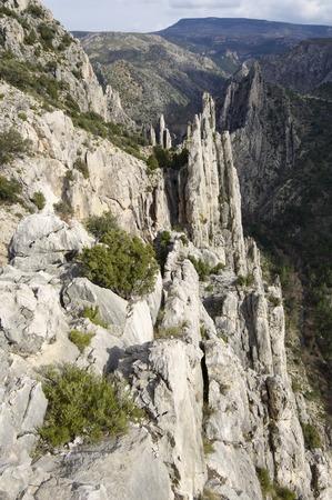 pinnacle: Mountains known as Organo de Montoro, Montoro de Mezquita, Maestrazgo, Teruel, Aragon, Spain.