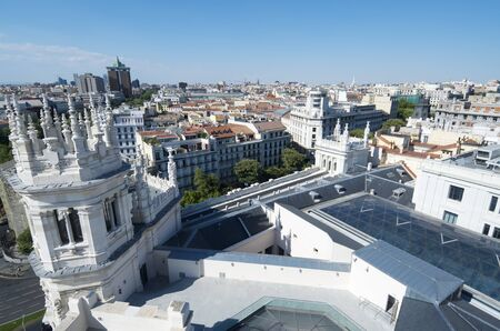 cibeles: Aerial view of Madrid, in the foreground stands the Palacio de Cibeles, Madrid, Spain