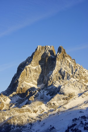 sunset on the western slope of the peak Midi dOssau, 2884 meters, Ossau Valley, Pyrenees, France photo