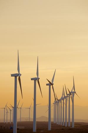 windturbine: Windmills for electric power production at sunset, Pozuelo de Aragon, Zaragoza, Aragon, Spain