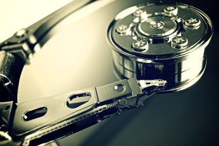 Closeup of an open computer hard drive photo