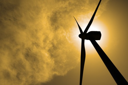 actual: Windmill for electric power production at sunset, Zaragoza Province, Aragon, Spain Stock Photo