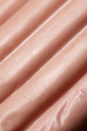 weenie: Closeup of a packaged frankfurters. Stock Photo
