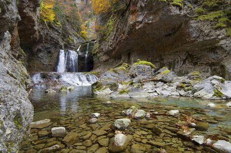 ordesa: view of a waterfall in Ordesa Valley, Pyrenees, Huesca, Aragon, Spain
