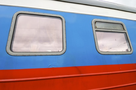 Old wagon and windows in transmongolian train photo