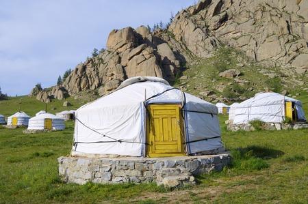 Mongolian gers in Gorkhi Terelji National Park, Mongolia photo