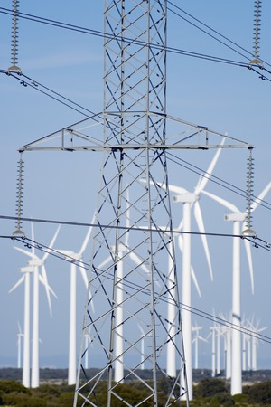 windmills for removable energy production and pylon photo