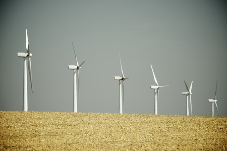 windturbines: Windmills for electric power production, Pozuelo de Aragon, Zaragoza, Aragon, Spain