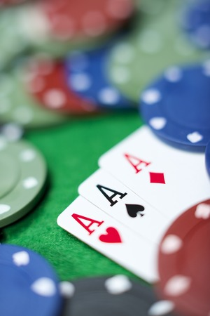 view of a gaming table with green mat Stock Photo - 28798924