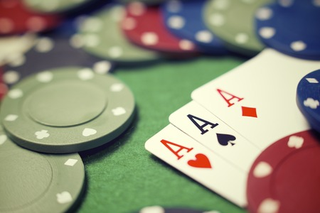 view of a gaming table with green mat Stock Photo - 28798929