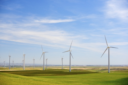 Windmills for electric power production, Zaragoza province, Aragon, Spain photo
