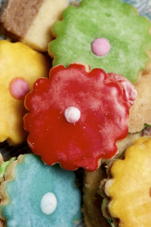 closeup of some cookies with colored sugar. photo