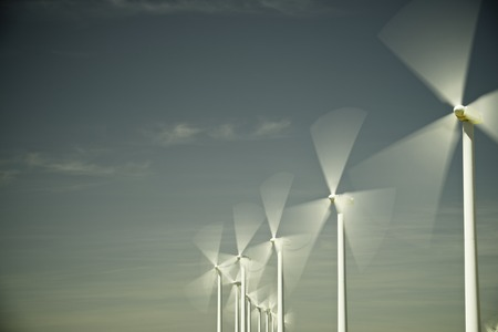 actual: Windmills for electric power production, Zaragoza province, Aragon, Spain Stock Photo
