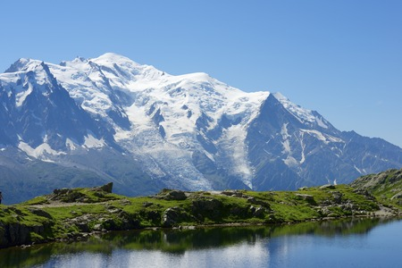 blanc: Mont Blanc reflected in Cheserys Lake, Mont Blanc Massif, Alps, France