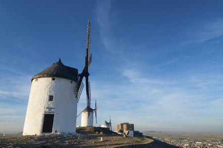 castilla la mancha: sunset at  the windmills of Consuegra, Toledo, Castilla La Mancha, Spain
