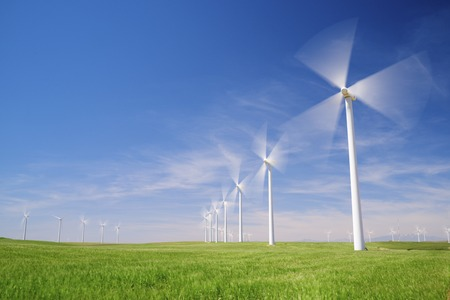 Windmills for electric power production, Zaragoza province, Aragon, Spain 写真素材